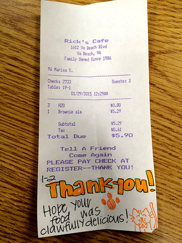 Marisa's Clawfully Receipt (January 28 2015)