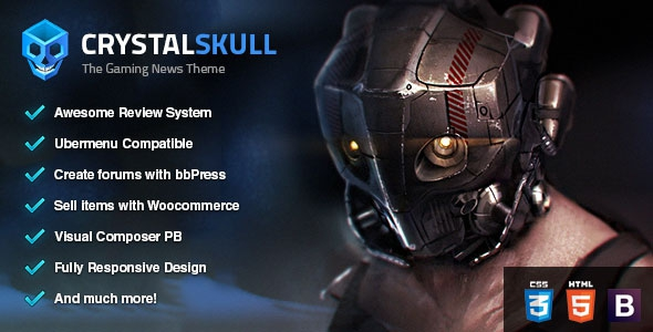 Themeforest CrystalSkull v1.1 - Gaming Magazine WordPress Theme