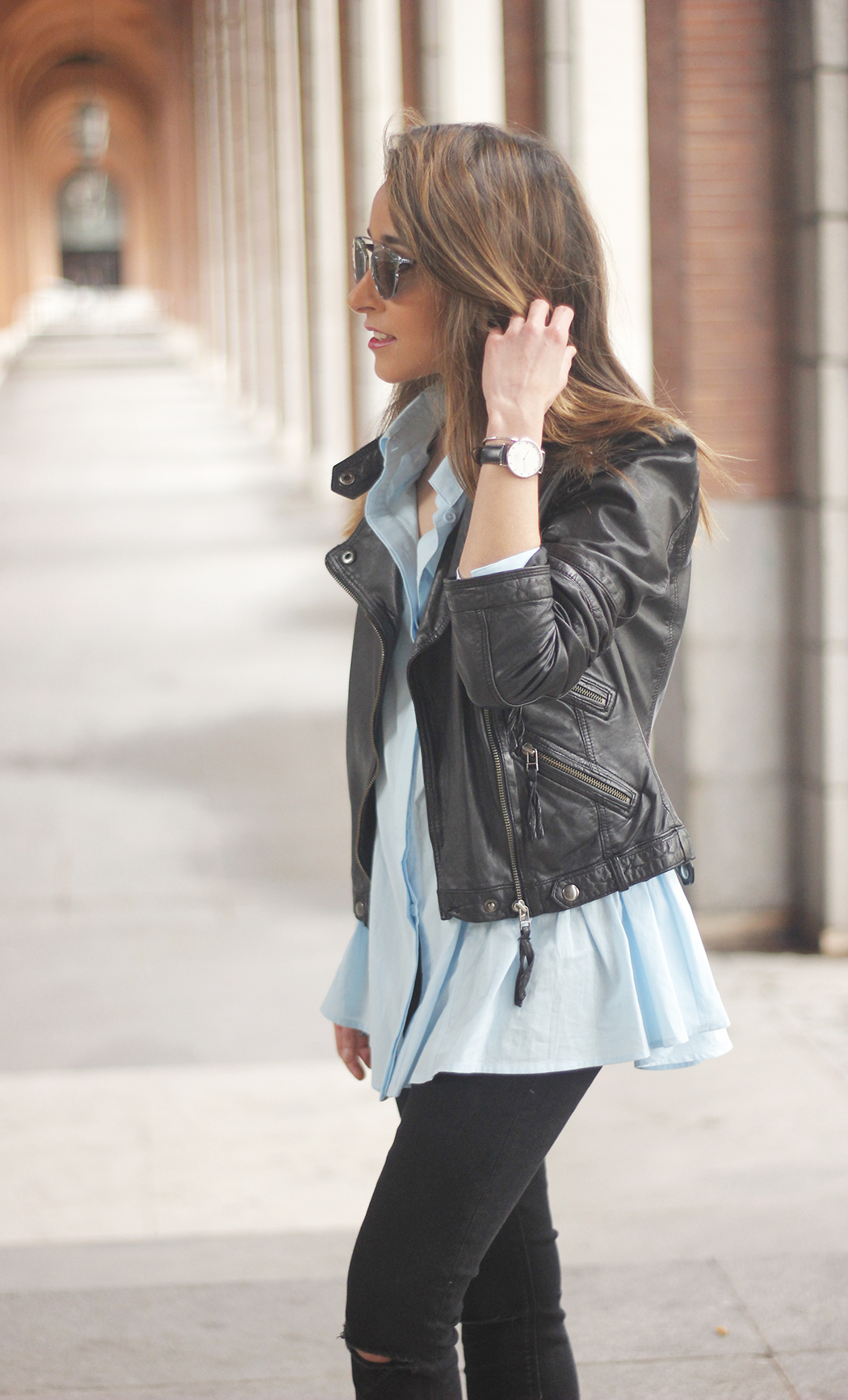 black leather biker black ripped jeans blue shirt outfit streetstyle14