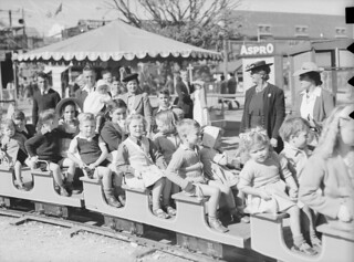 Children on miniature train at the Brisbane Exhibition 1947