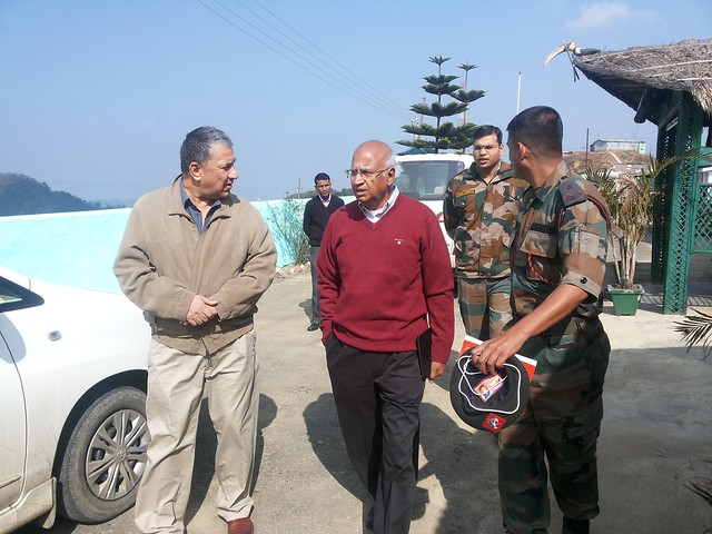 3.11th Feb_Ranjit Barthakur, S. Ramadorai with Army Major at Tegnopaul Peak enroute to Moreh
