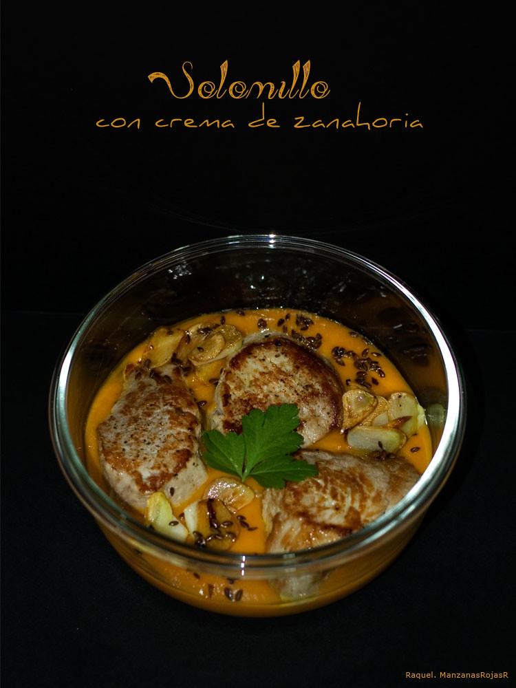 Solomillo con crema de zanahoria. ManzanasRojasR