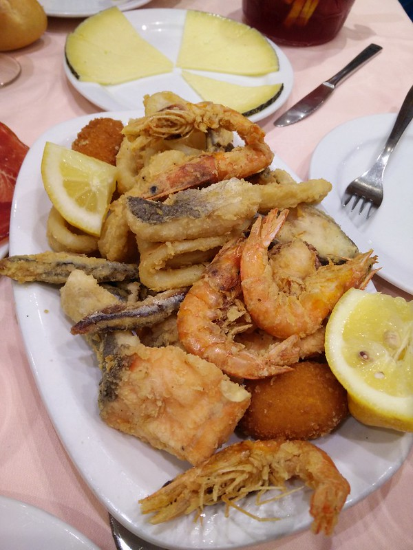 A plate of fried seafood in Madrid
