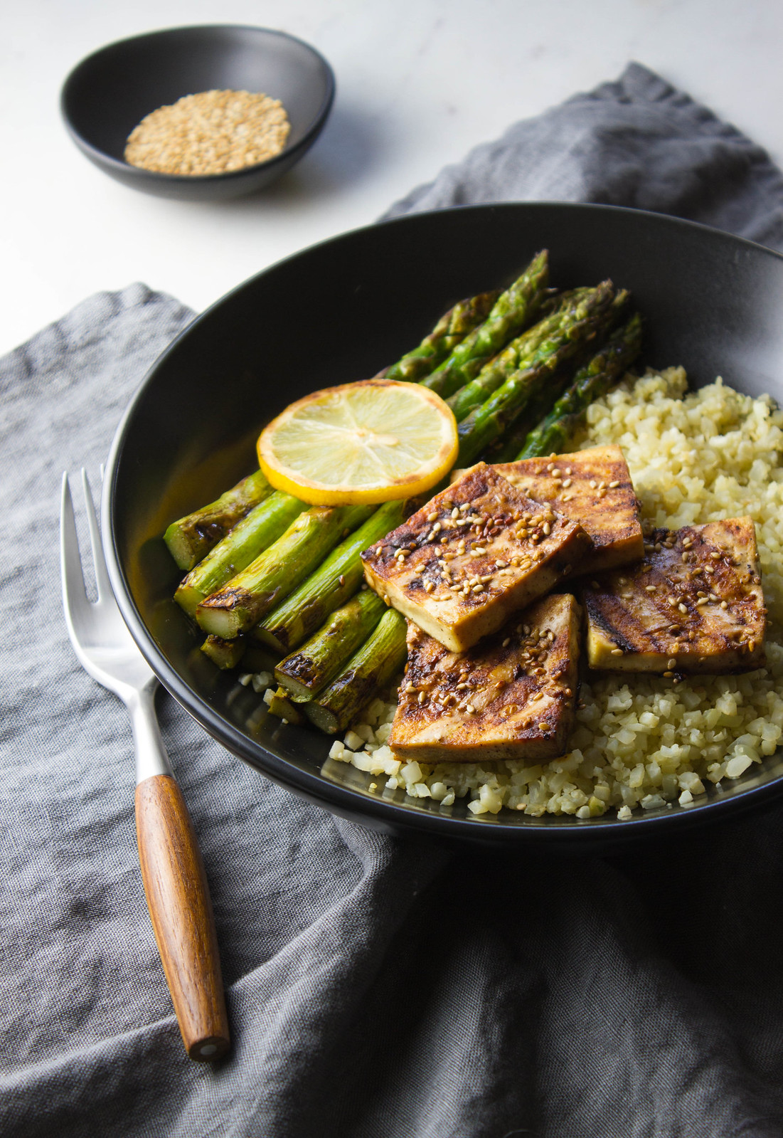 GRILLED TOFU & ASPARAGUS + GINGER CAULIFLOWER RICE