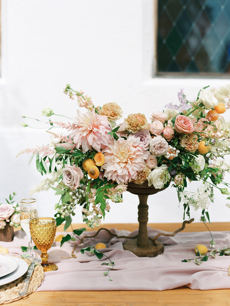 Blushing Dahlia and blush roses wedding arrangement | photo by Elena Pavlova | Fab Mood - UK wedding blog #styledshoot
