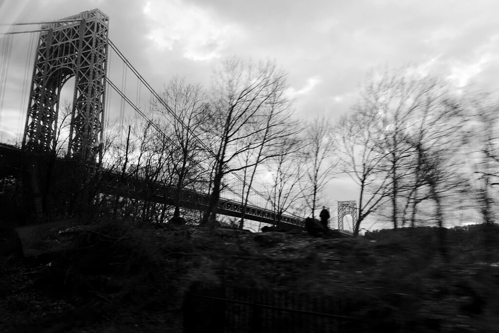 Man Beneath the George Washington Bridge