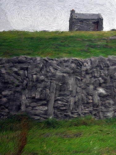 Stone Fence and Hut on the Aran Island of Inishere painted in Psyko Paint