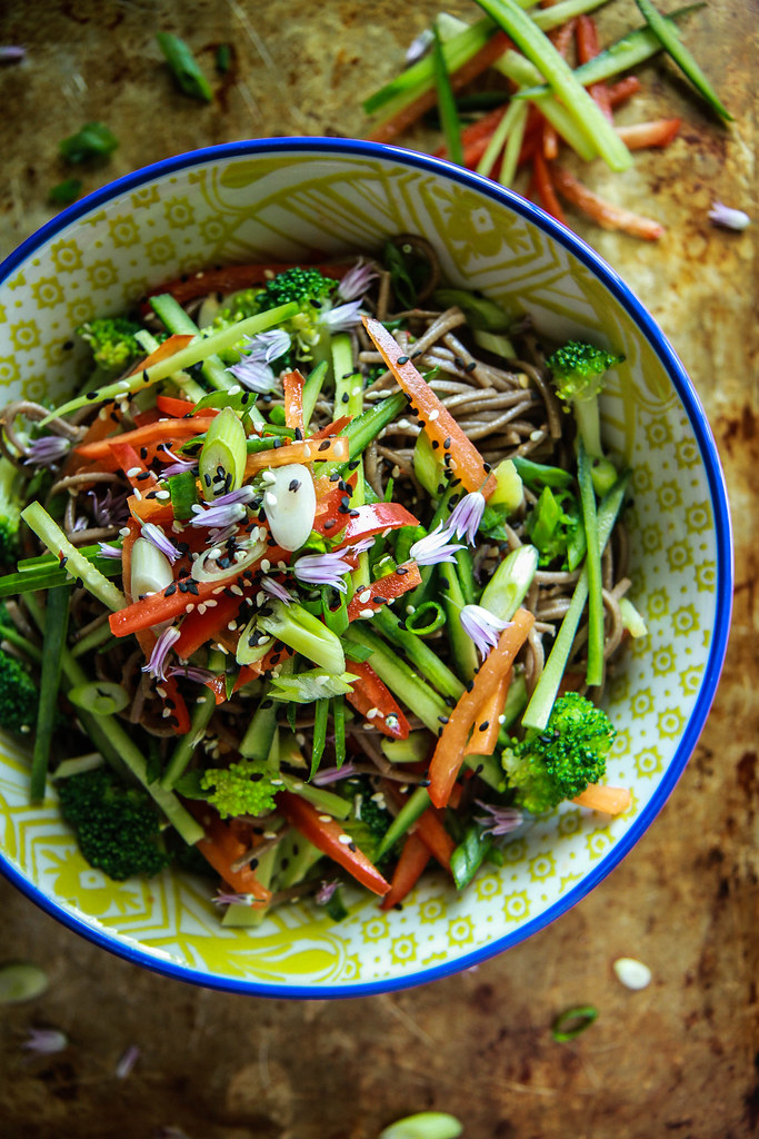 Buckwheat Soy and Sesame Noodle Bowl with Crunchy Vegetables- Vegan and GF from HeatherChristo.com
