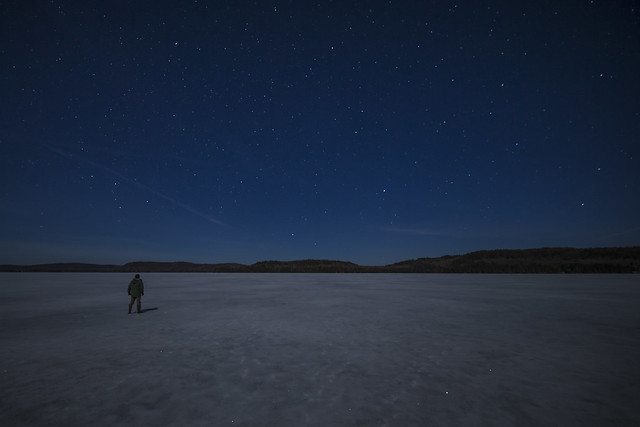 Aylen Lake Ice, Stars and Moonlit Night - Astrophotography