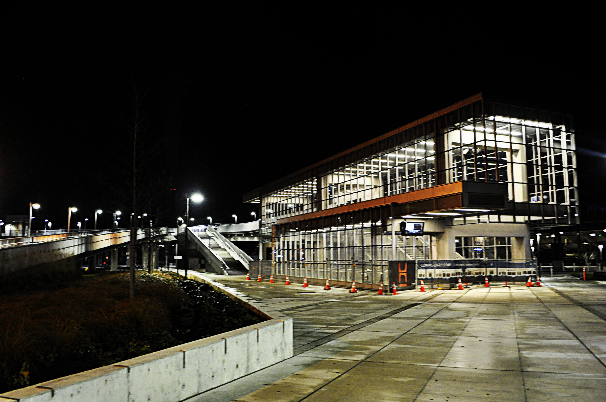 UW Station at night