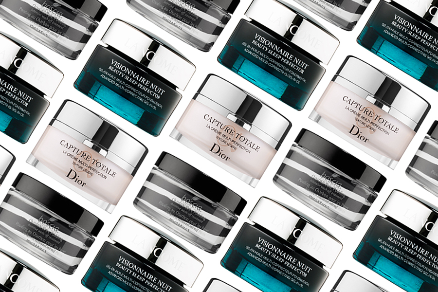 Lancome Visionnaire Nuit Beauty Sleep Perfector, Boscia Charcoal Pore Pudding Intensive Wash-Off Treatment, Dior Capture Totale Multi-Perfection Creme