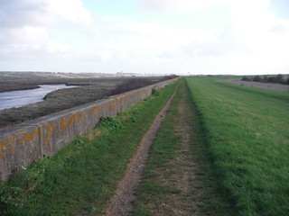 dyke and concrete flood wall, Benfleet Creek, Canvey Island