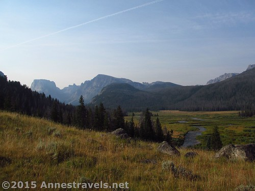 Looking back down on the Green River and Squaretop Mountain from the lower reaches of the Clear Creek Canyon Trail, Wind River Range, Wyoming