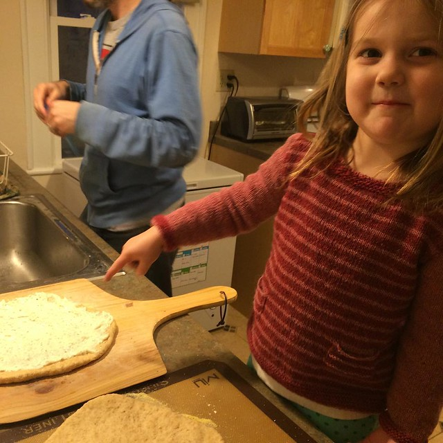 We're making a white pizza for M's sake this week (she's very opposed to tomato sauce, but we're very opposed to not having Homemade Pizza Saturdays.)