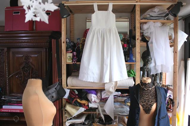 Robe blanche pour petite fille demoiselle d'honneur