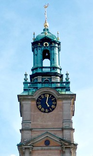 Brick Gothic Storkyrka, Clock Tower of the Stockholm Cathedral in the old town of Stockholm Sweden