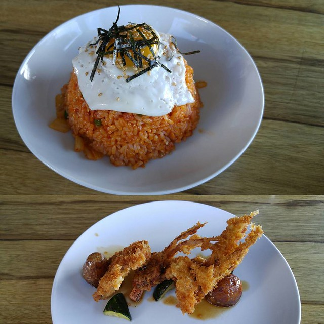 Kimchi fried rice, soft shell crab