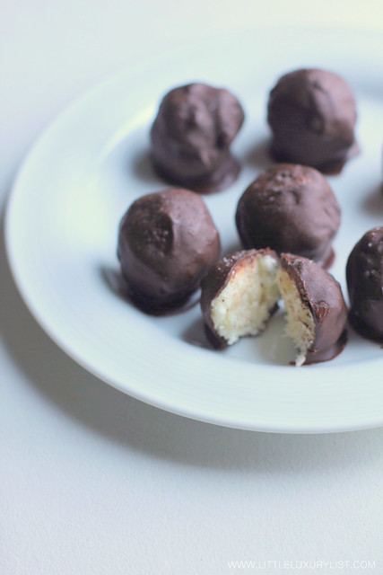 Chocolate covered coconut bites macro by little luxury list.