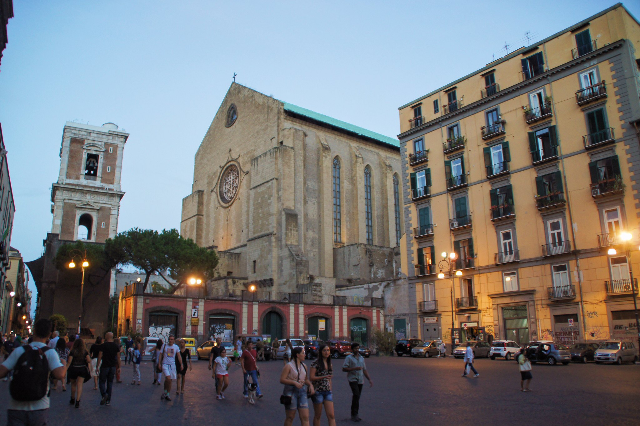 Gesu Nuovo (New Jesus) square and Santa Chiara church, Naples