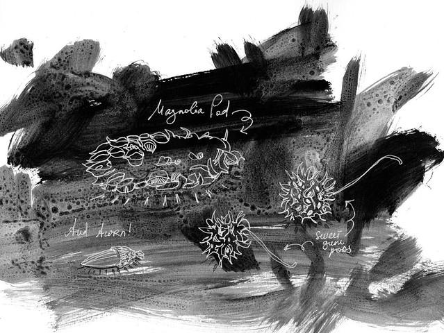 Sketchbook #94: Treasures on Pre-Painted Background