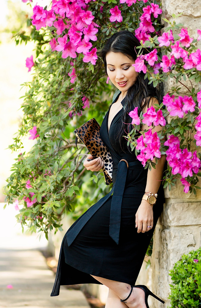 cute & little blog | petite fashion | les lunes bamboo black wrap lace dress, leopard clutch, strappy sandals | date night spring outfit