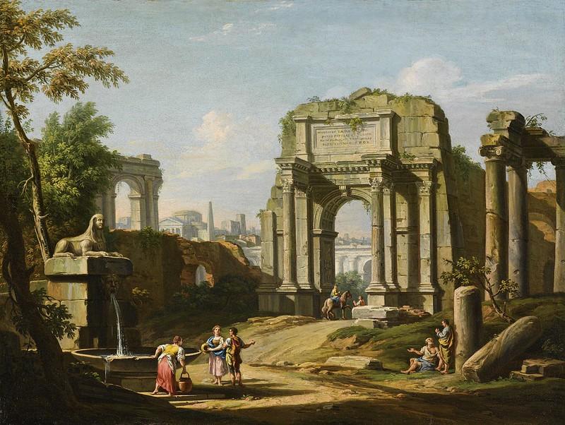 Giuseppe Zocchi - Capriccio architettonico con rovine antiche, una sfinge e figure presso una fontana