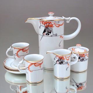 Meissen, Mokkaservice, Dejeuner, tete a tete, Mokkakern, Form Modern, Zylindrisch, Feuervogel, Art Deco, Jugendstil, 1980er