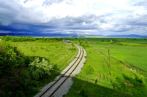 railroad green train landscape outdoor bulgaria