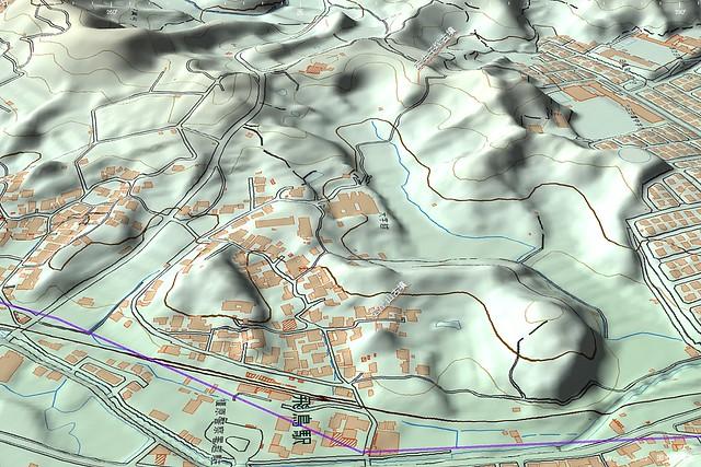 岩屋山古墳と牽牛子塚古墳の位置 3D