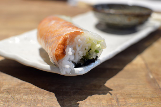 Sugar cane prawn rice paper roll