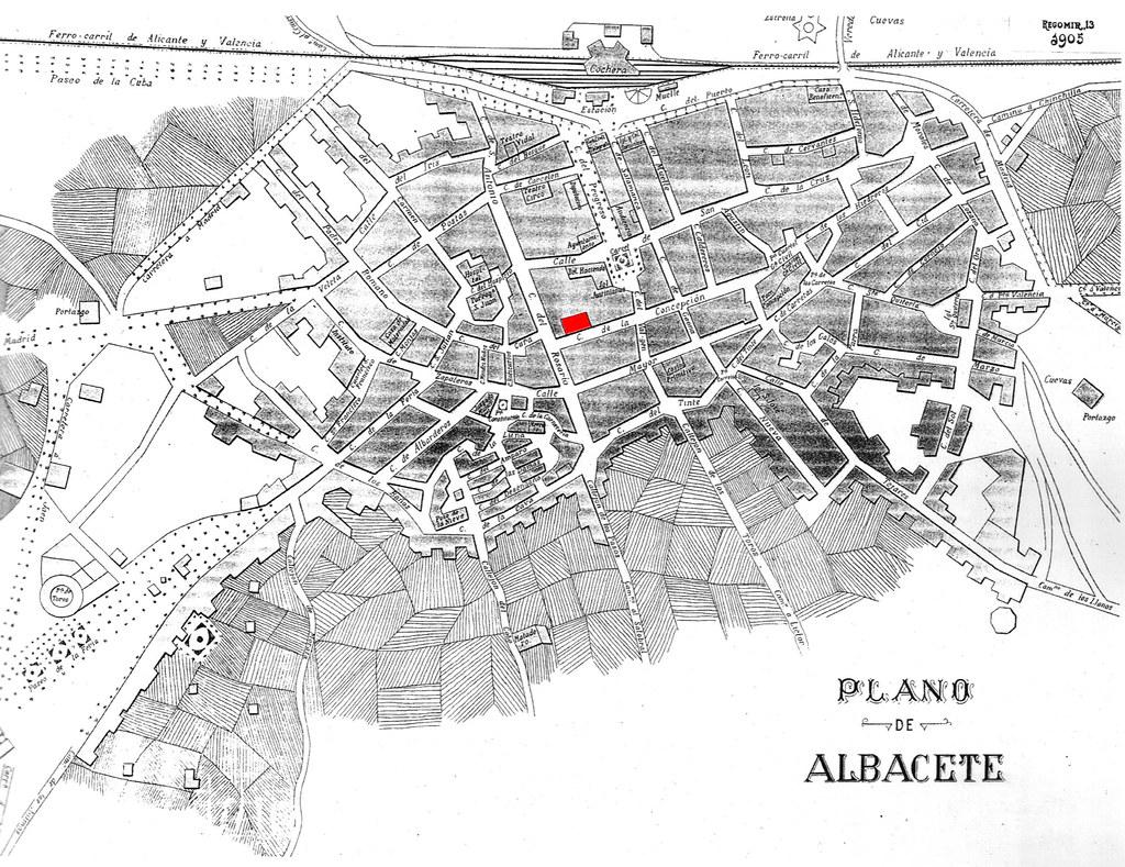 Plano de Albacete año 1905 ubicación Salón Liceo y Casino Artístico
