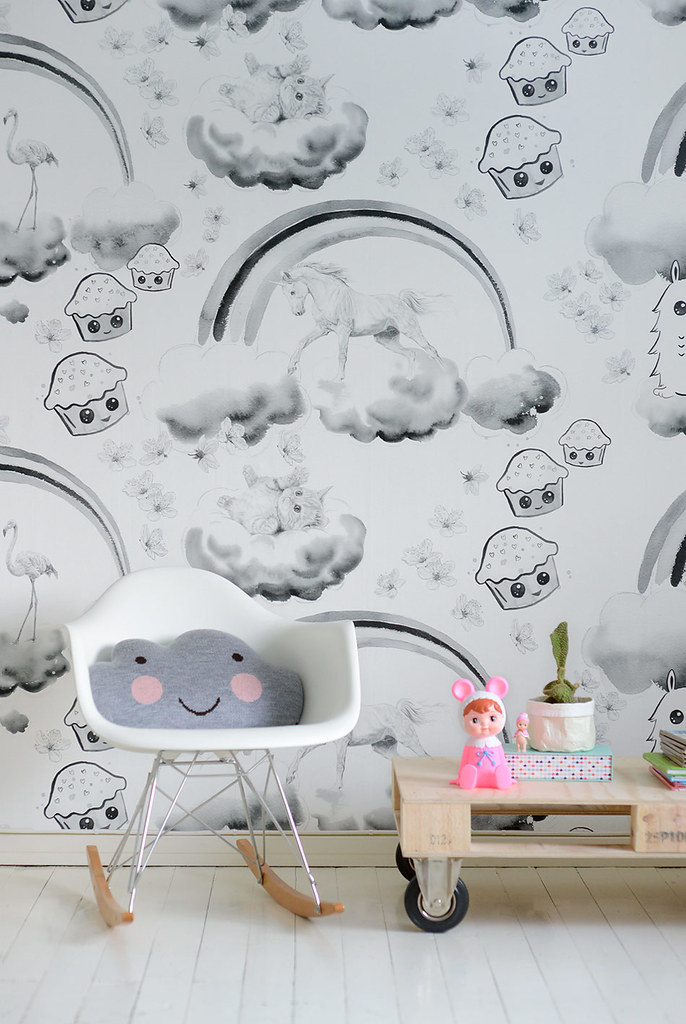 Unicorns, kittens and cupcakes - Unelmatapetti wallpaper design by Jutta Rikola