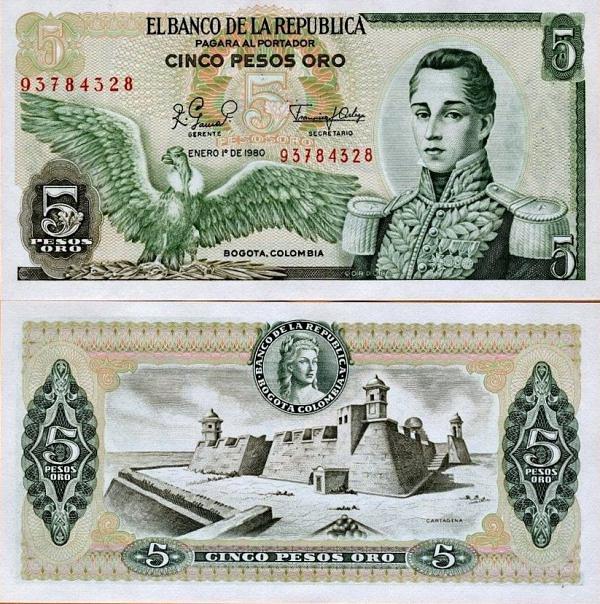 5 Pesos Oro Kolumbia 1980, P406f UNC