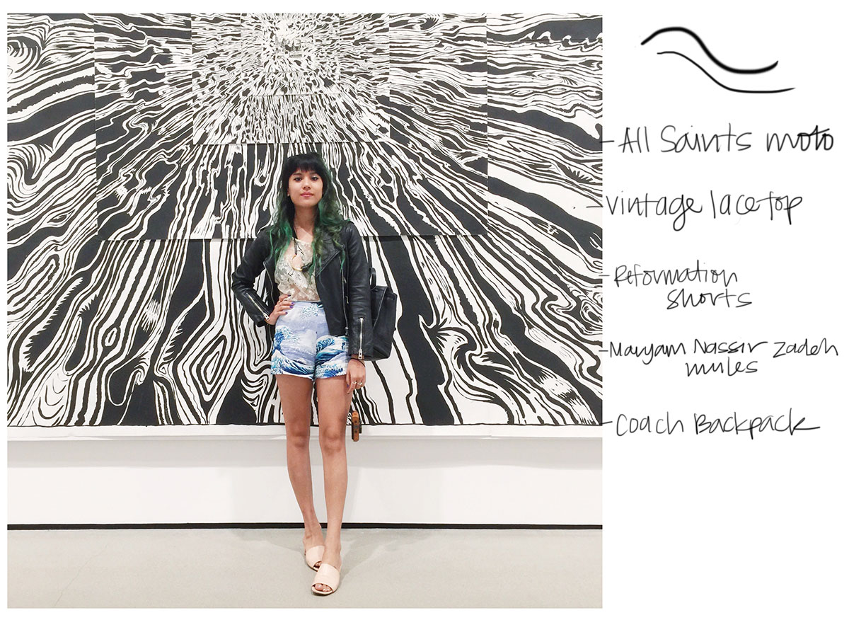 All Saints Balfern moto jacket, Reformation shorts, Maryam Nassir Zadeh Sophie Slides, The Broad Museum