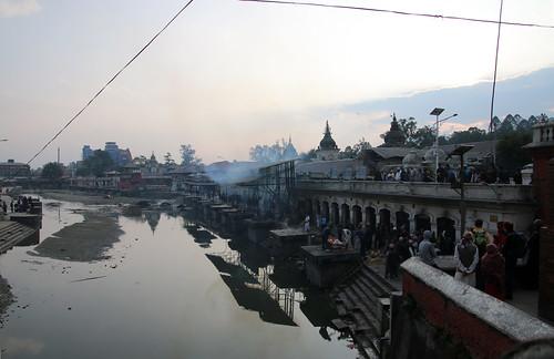 nepal sunset clouds reflections smoke kathmandu hinduism pashupatinath