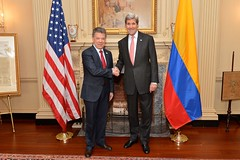 U.S. Secretary of State John Kerry and Colombian President Juan Manuel Santos pose for a photo before their meeting at the U.S. Department of State in Washington, D.C., on February 5, 2016. [State Department photo/ Public Domain]