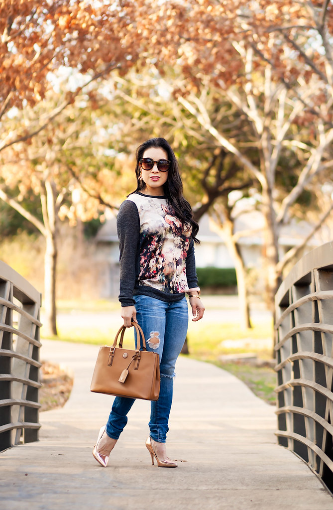 cute & little blog | petite fashion | floral sweatshirt, distressed jeans | winter outfit