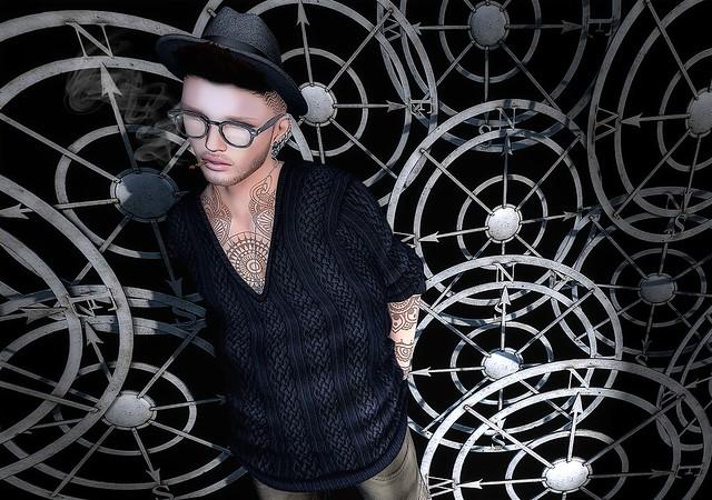 ::K:: V-Neck Pullover Homme Black @Shiny Shabby