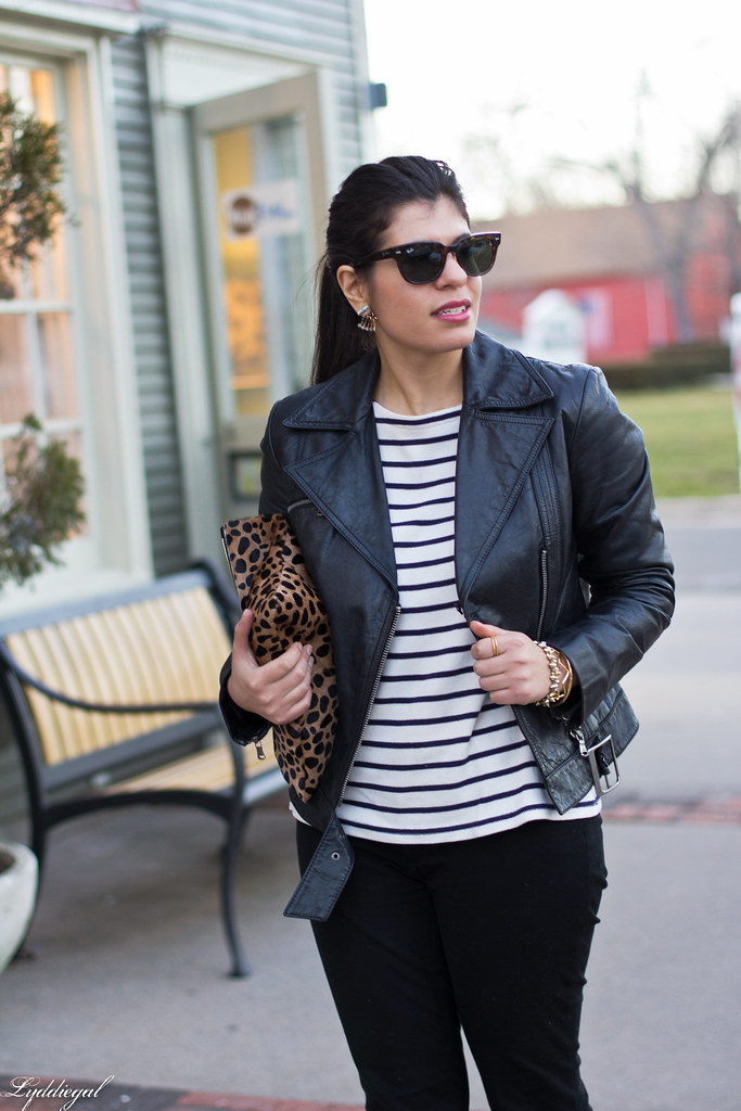 striped tee, black leather jacket, leopard clutch-4.jpg