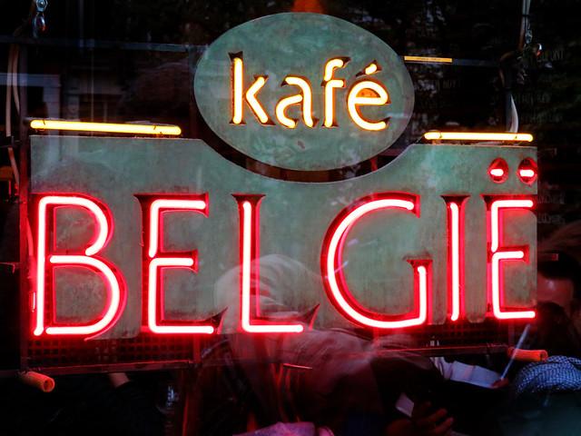 Neon sign of the Café Belgie Pub in Utrecht, Holland
