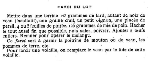 Recette de farce, 1898