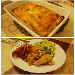 #dinner #chickenpie #sweetpotatofries and #salad #…