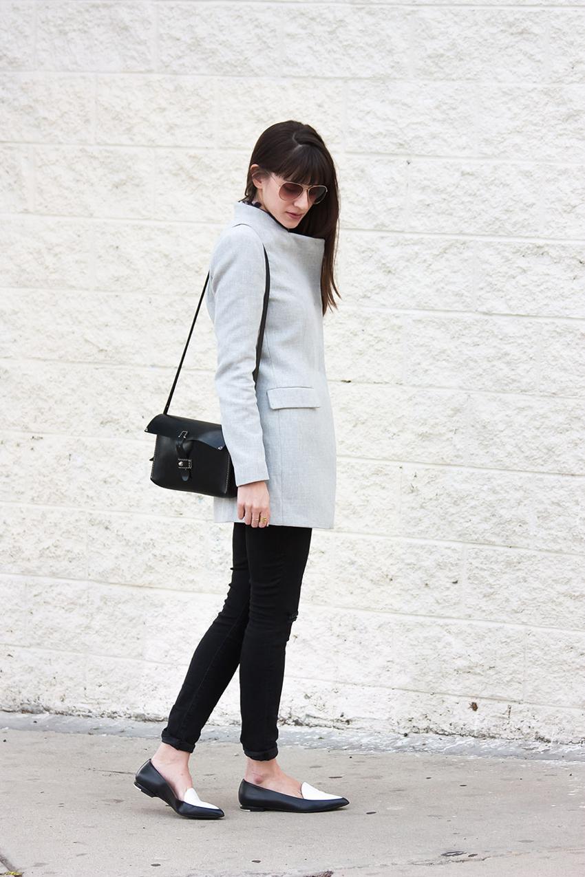 Grey Zara Coat, Everlane Loafers