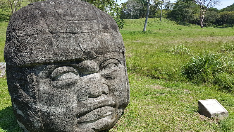 Olmec head (replica) in situ at La Venta