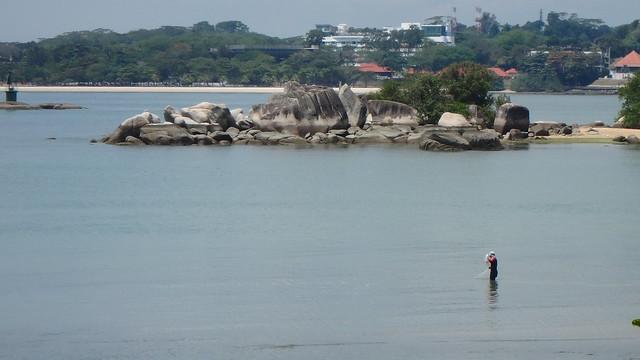 Fishing at Chek Jawa opposite Pulau Sekudu