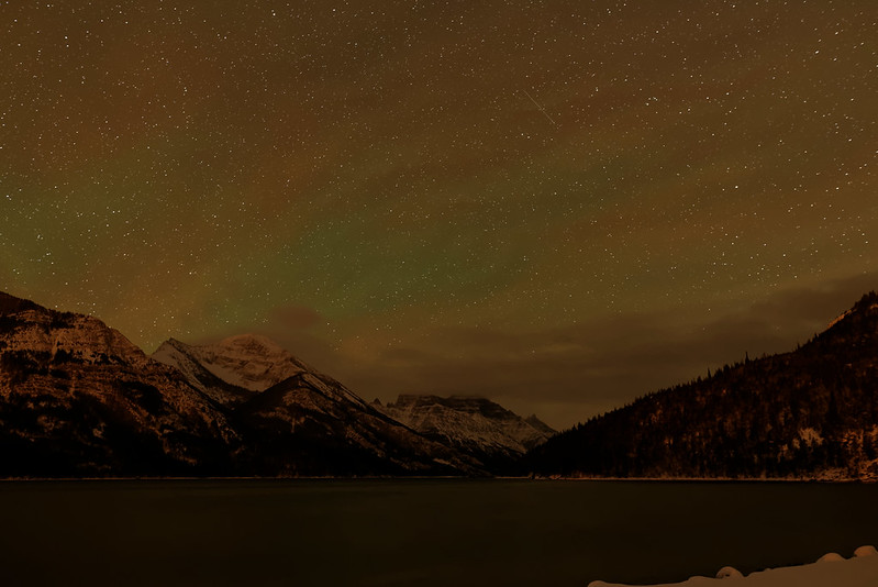 Upper Waterton Lake at night