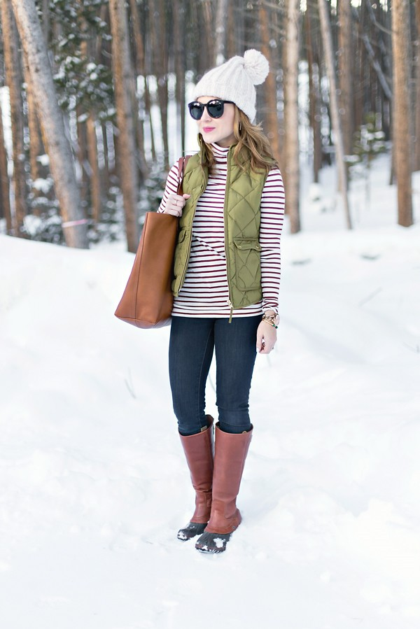 Stripe turtleneck + Excursion vest + Sorel Slimpack boots