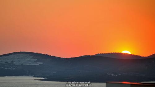 sunset sea holiday turkey mediterranean apartment flat balcony mediterraneansea olivetree 2015 aegeansea bodrumpeninsula theolivetree gulluk patsapartment nikond700 nikonafzoomnikkor80200mmf28ed