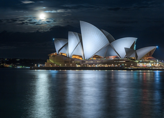 The beauty of the Syndey opera house in moonlight