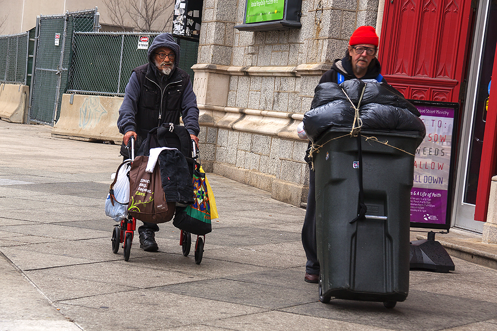 Two homeless men on Broad Street on 3-13-16--Center City